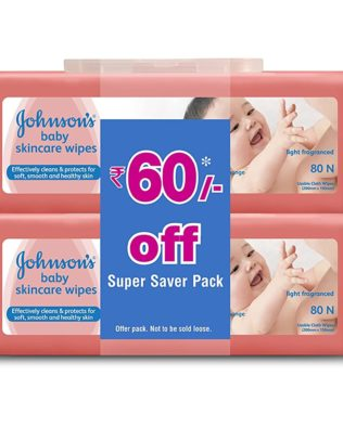 Johnson's Baby Skincare Wipes (2 Packs, 80 Sheets per Pack)